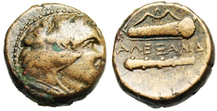 "Ancient Coins - Alexander III The Great Lifetime AE18 ""Herakles, Bow Quiver Club"" Price 266"