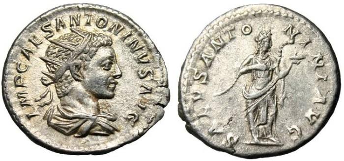 """Ancient Coins - Elagabalus, AR Ant. """"SALVS ANTONINI AVG Salus"""" Rome RIC 137 EF"""