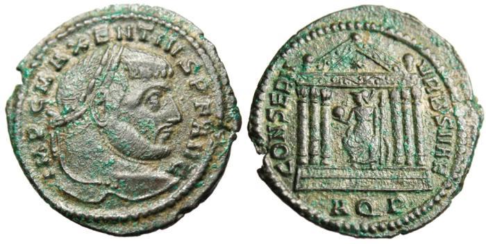"Ancient Coins - Maxentius AE Follis ""Roma Seated in Temple"" Aquileia Mint RIC 121a"
