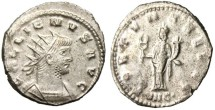 "Ancient Coins - VF Gallienus Silvered Ant. ""FORTVNA REDVX Fortuna Caduceus"" Antioch"