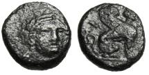"Ancient Coins - Troas, Gergis AE12 ""Facing Sibyl Herophile & Sphinx Seated"" Scarce Good Fine"