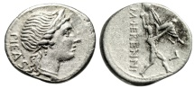 "Ancient Coins - M Herennius AR Denarius ""Pietas & Amphinomus Carrying Father Nisos"" 108 BC VF"