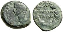 """Ancient Coins - Augustus AE25 """"IVLIA TRAD in Wreath"""" Spain, Julia Traducta RPC 108 Good Fine"""
