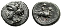 "Ancient Coins - Thessaly, Phalanna AE Dichalkon ""Nymph & Horse Rider, Petasos"" 4th Cent BC VF"