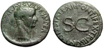 "Ancient Coins - Tiberius AE As ""PONTIFEX TRIBVN POTESTATE XII SC"" Rome 10-11 AD RIC 469"