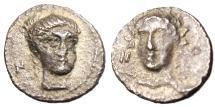 "Ancient Coins - Cilicia, Nagidos Silver AR Obol ""Facing Aphrodite & Dionysos"" Scarce VF"