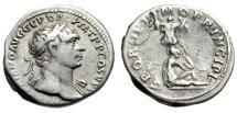 "Ancient Coins - Trajan AR Denarius ""Dacian Captive Mourning, Trophy"" RIC 222 VF"