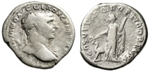 "Trajan AR Denarius ""Arabia, Cinnamon & Camel"" Rome 103-111 AD RIC 142 Near Fine"