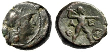 "Ancient Coins - Attica, Athens AE19 ""Athena & Zeus Hurling Thunderbolt, Star"" Mithradatic War VF"