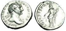 """Ancient Coins - Trajan Silver Denarius """"Aequitas With Scales"""" Rome RIC 118 EF Authentic Roman"""