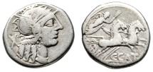 """Ancient Coins - CN Porcius Cato AR Denarius """"Helmeted Roma & Victory in Biga"""" 123 BC gF"""