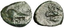 "Ancient Coins - Mysia, Lampsakos AE10 ""Corinthian Helmet & Pegasus Grain Ear"" Rare gVF"