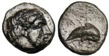 "Ancient Coins - CHOICE EF Ionia Myus (Myos) ""Poseidon & Dolphin"" Scarce"