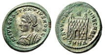 """Ancient Coins - Constantius II Silvered AE20 """"PROVIDENTIAE CAESS Campgate"""" Heraclea RIC 78 EF"""