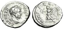 """Ancient Coins - Septimius Severus Silver Denarius """"VICT PART MAX Victory over Parthia"""" RIC 295"""