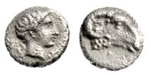 "Ancient Coins - Caria, Kasolaba Silver Hemiobol ""Ram Head & Young Male"" Choice EF Scarce"
