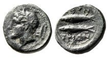 """Ancient Coins - Sicily, Leontini AE14 """"River Deity, Plow & Two Tunny Fish"""" VF Rare"""