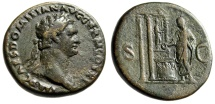 "Ancient Coins - Domitian AE Sestertius ""Distyle Temple, Minerva Statue"" RIC 277 Scarce VF"