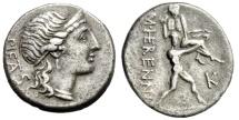 "Ancient Coins - M Herennius Silver Denarius ""Amphinomus Carrying Father Nisos"" 108 BC gVF"