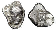 "Ancient Coins - Arkadia, Tegea AR Hemiobol ""Athena Alea, Hair in Queue & Large T"" Very Rare"