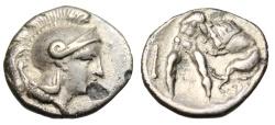 "Ancient Coins - Lucania, Herakleia Silver Diobol ""Athena & Herakles Strangling Lion"" VF"