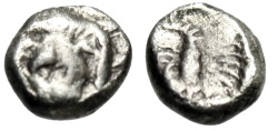 "Ancient Coins - Caria, Mylasa Silver Obol ""Forepart Lion Facing & Scorpion"" 5th Cent BC Scarce"