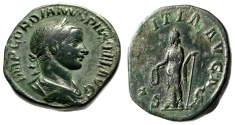 "Ancient Coins - Gordian III AE Sestertius ""Laetitia, Wreath & Anchor"" Rome RIC 300 Great Potrait"