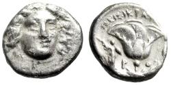 "Ancient Coins - Caria, Rhodes AR Drachm ""Helios Facing & Rose, Athena Promachos"" Peisikrates"