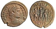 "Ancient Coins - Constans I AE17 ""GLORIA EXERCITVS Soldiers"" Alexandria RIC 7 Rare Good VF"
