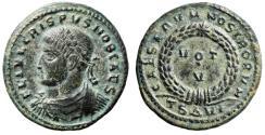 "Ancient Coins - Crispus Caesar AE19 ""CAESARVM NOSTRORVM Votive"" Thessalonica Scarce nEF"