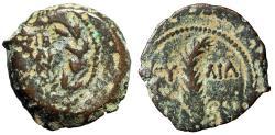 """Ancient Coins - Judea, Roman Prefect Under Tiberius: Valerius Gratus AE Prutah """"Curved Palm"""""""