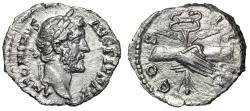"""Ancient Coins - Antoninus Pius AR Denarius """"Hands Clasped, Holding Caduceus"""" Rome About EF"""