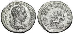 "Ancient Coins - Elagabalus AR Denarius ""PONTIF MAX TRP Roma Seated"" 218 AD RIC 8b Rare"