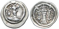 "Ancient Coins - Sassanian Kingdom: Yazdegard I AR Drachm ""Bearded Portrait, Crescent"" Rare Type"