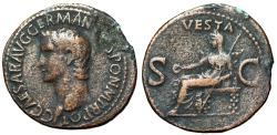 "Ancient Coins - Caligula (Gaius) AE As ""Vesta Seated, SC"" RIC 38 Good Fine"