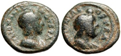 """Ancient Coins - Julia Mamaea AE19 """"Zeus Ammon With Disk"""" Arabia Bostra Mint"""