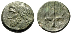 "Ancient Coins - King of Syracuse: Hieron II AE19 ""Poseidon & Trident, Dolphins"" Nice VF"