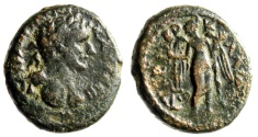 "Ancient Coins - Hadrian AE19 of Galilee, Tiberias ""Nike, Dated Year 101 = 119/20 AD"" gF"