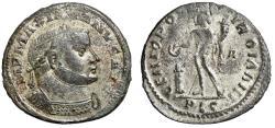 """Ancient Coins - Maximian Silvered Follis """"Genius of the Romans"""" Lugdunum RIC 108b"""