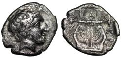 "Ancient Coins - Macedonia, Chalkidian League AR Tetrobol ""Apollo & Kithara"" Olynthos nVF"