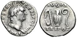 "Ancient Coins - Vespasian AR Denarius ""Simpulum, Sprinkler, Jug & Lituus"" RIC 356 VF"
