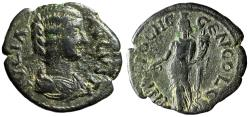 """Ancient Coins - Julia Domna AE23 of Antioch, Pisidia """"Tyche With Rudder"""" About VF"""