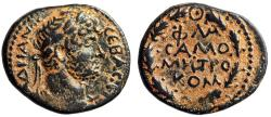 """Ancient Coins - Hadrian AE20 of Samosata, Commagene """"Legends in Wreath"""" Year 60 VF"""