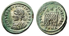 "Ancient Coins - Constantius II Silvered AE20 ""PROVIDENTIAE CAESS Campgate"" Heraclea RIC 78 EF"