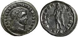 """Ancient Coins - Maximinus II Daia AE Follis """"GENIO CAESARIS Genius"""" Heraclea RIC 36 Good VF"""
