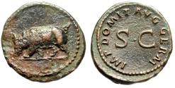 "Ancient Coins - Domitian AE Quadrans ""Rhinoceros Charging & SC"" RIC 250 Scarce Rhino gVF"