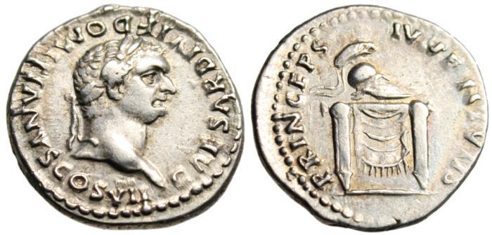 "Ancient Coins - Domitian as Caesar Under Titus Silver AR Denarius ""Helmet on Altar"" RIC 271 VF"