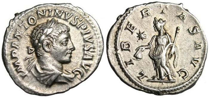 "Ancient Coins - Elagabalus, AR Denarius ""Libertas"" Rome RIC 107 nEF"