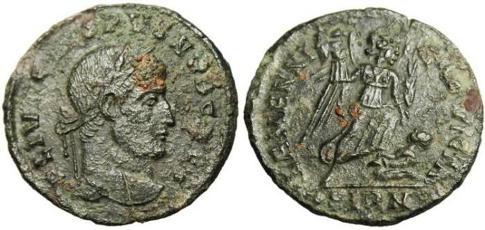 """Ancient Coins - Crispus """"ALAMANNIA DEVICTA Victory"""" Sirmium VF RIC 49 SCARCE"""