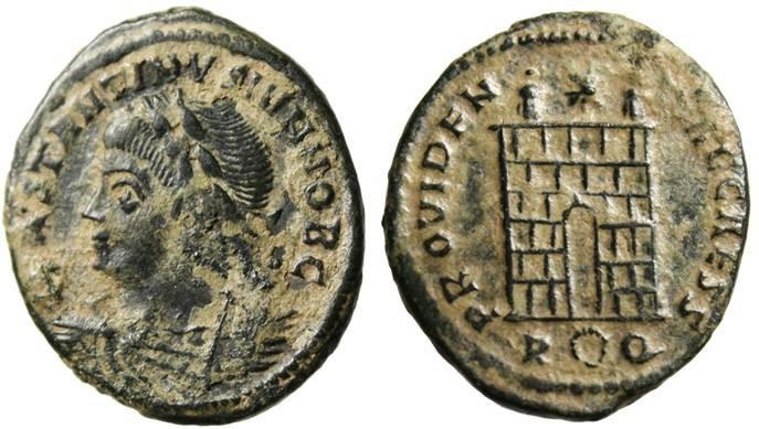 "Ancient Coins - Constantius II as Caesar, AE3 ""Campgate"" Rome RIC 289 Rare VF Desert Patina"